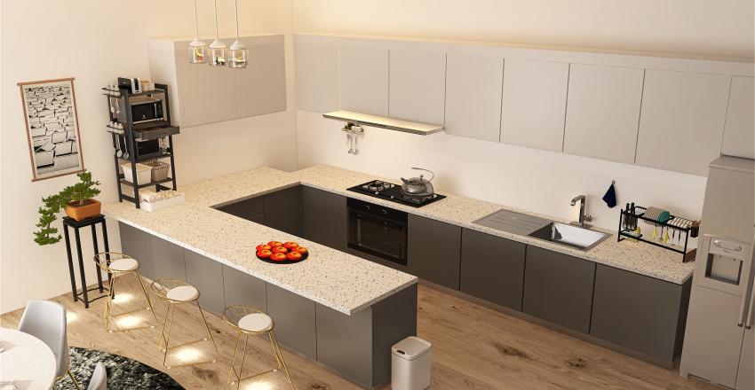 The simple modern house Interior Design Render