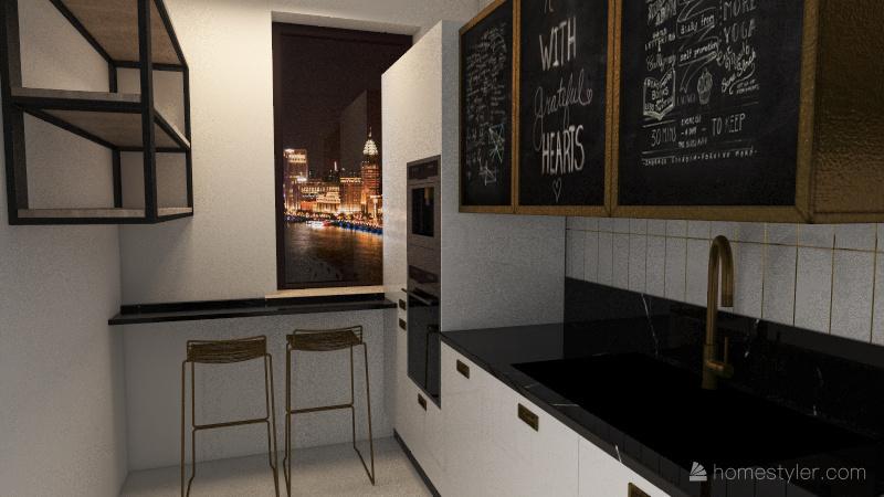 small studio Interior Design Render