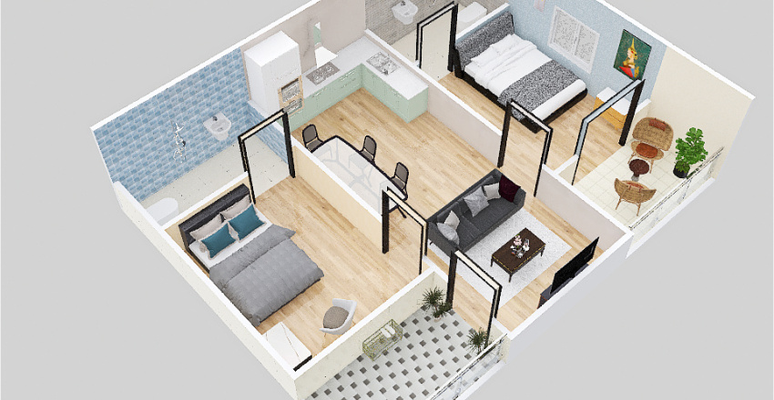 8 th 3d floor plan Interior Design Render