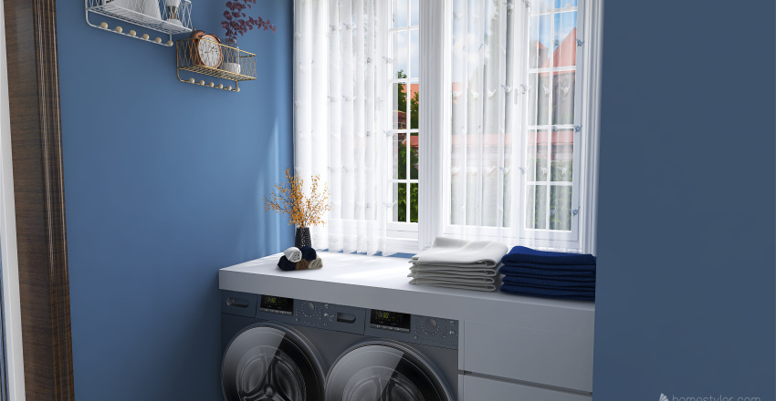 Casa en tonos azules Interior Design Render