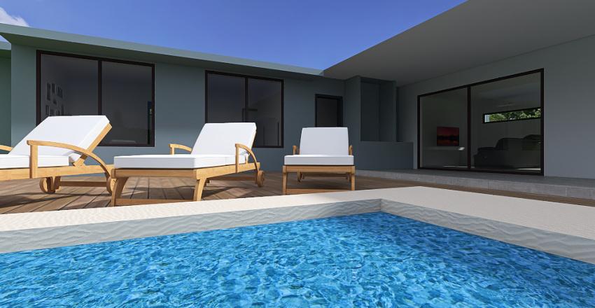 Casa Hormigon dorm ppal arriba y garage Interior Design Render