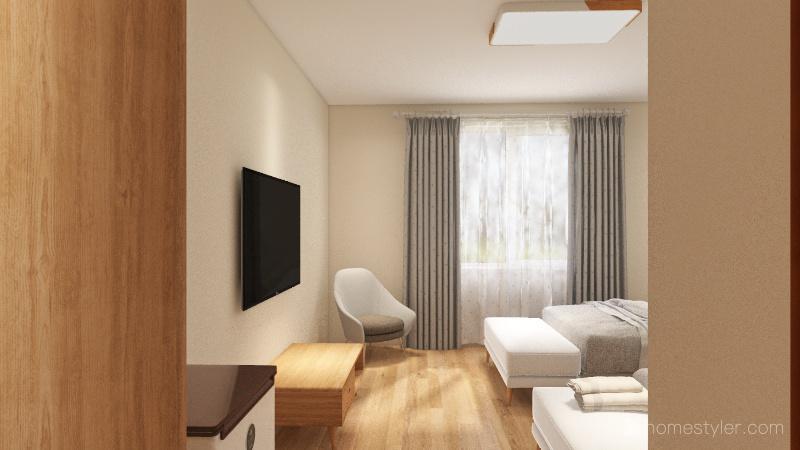 Quarto quádruplo Interior Design Render