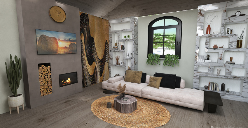 The wood weekend house for two Interior Design Render
