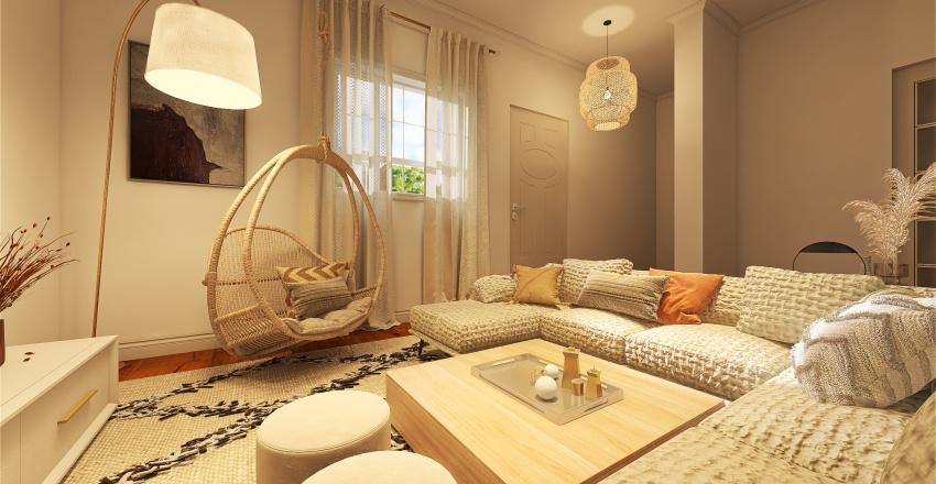 Natural Boho Chic Condo Interior Design Render