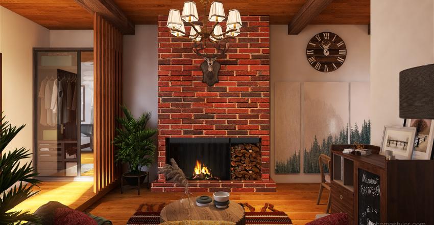 Rustic studio Interior Design Render