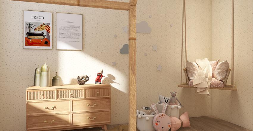 Natural wood Interior Design Render