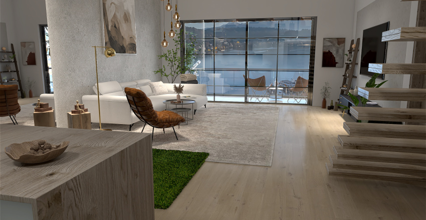 City apartment with a view Interior Design Render