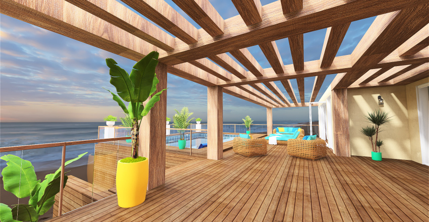 The blue house by the sea Interior Design Render