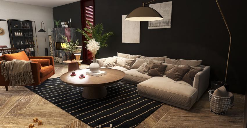 Pokój dzienny - ciemny ale przytulny Interior Design Render