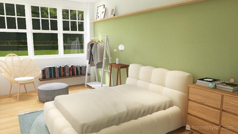 green grid kitchen 1bed Interior Design Render