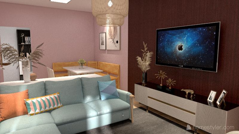 Sala de Estar e Jantar, primeiro exemplo Interior Design Render
