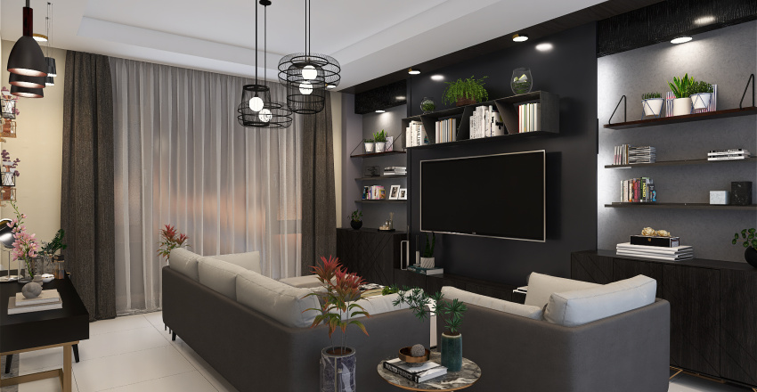 Living Room - Modern Urban Style Interior Design Render