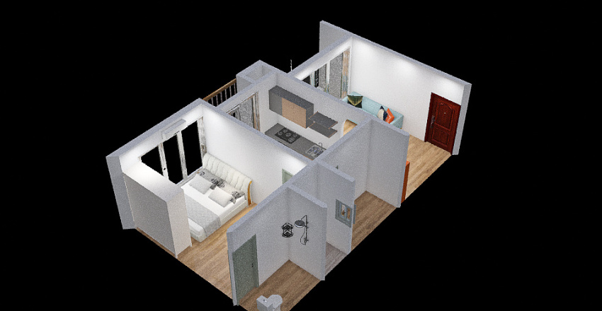 Without Balcony Interior Design Render
