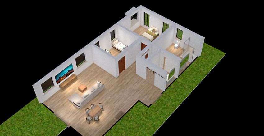 Ms. Diaz's Shipping Container home: Interior Design Render