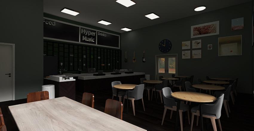 Hyper Music Coffee Shop Interior Design Render