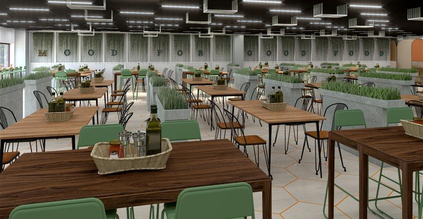 Industrial canteen for 500 Interior Design Render