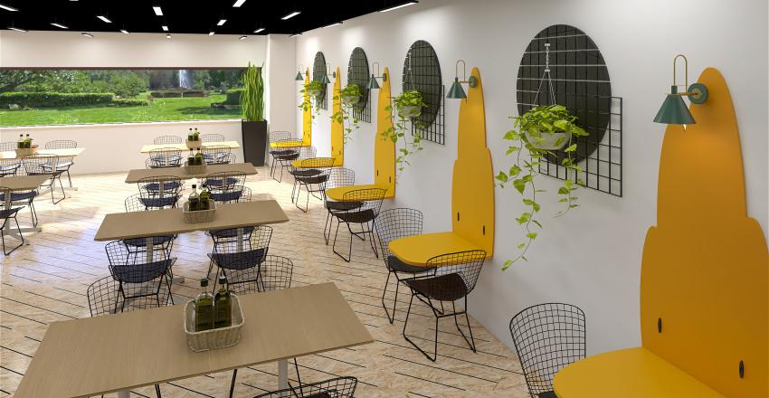 400 sqm industrial Canteen Interior Design Render