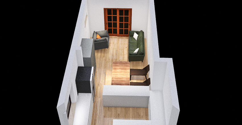 Table in alcove / long run Interior Design Render