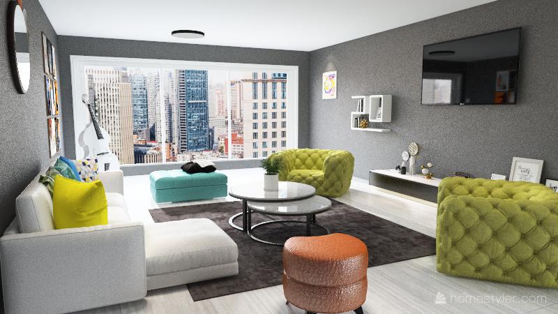 Colorful Living Room Interior Design Render