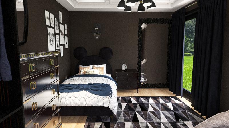 black and white bedroom Interior Design Render