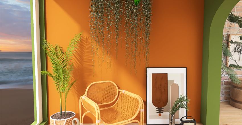 earth tone bohemian bedroom. Interior Design Render