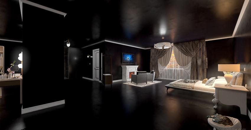 Camera da letto con bagno privato Interior Design Render