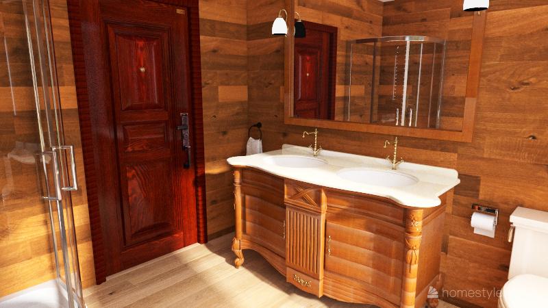 bedroom and 2 bathrooms Interior Design Render