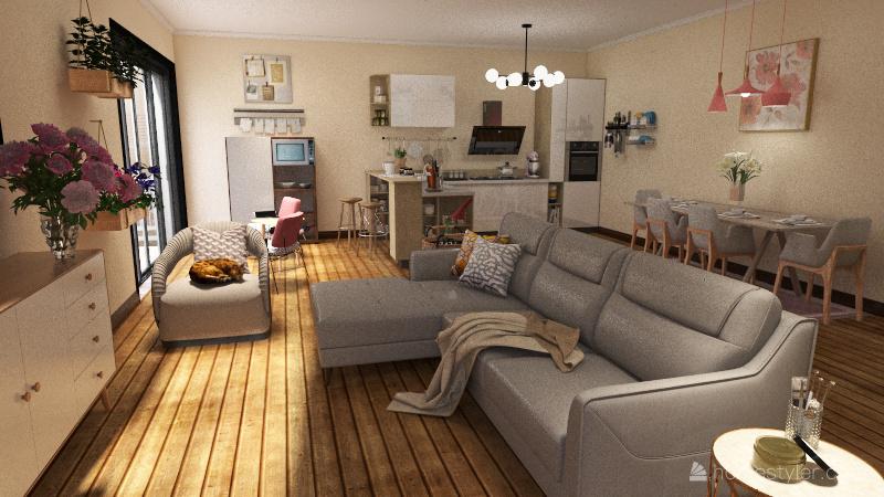 English Apartment Interior Design Render