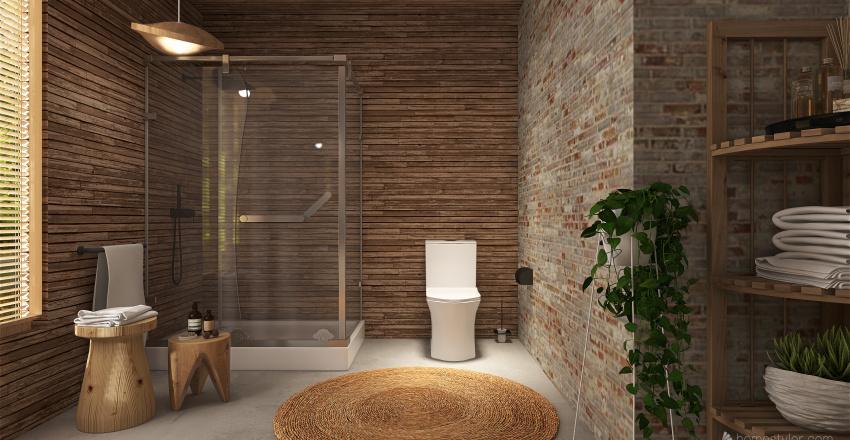 Rustic Cabin: natural wood Interior Design Render