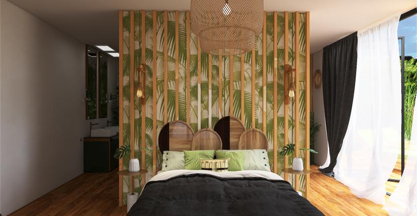 Tahitian hotel bedroom Interior Design Render