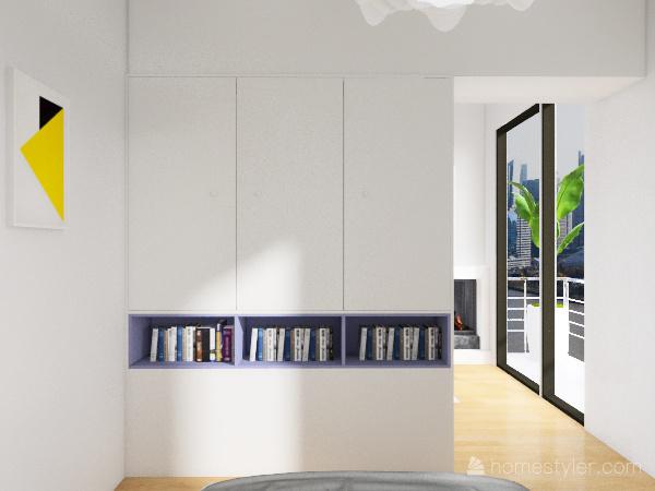 tall purple kitchen Interior Design Render