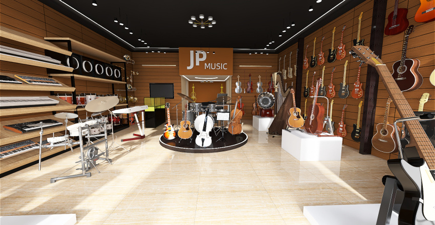 music store Interior Design Render