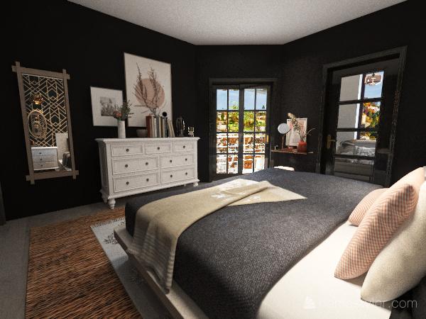 Master bedroom with Dark walls Interior Design Render