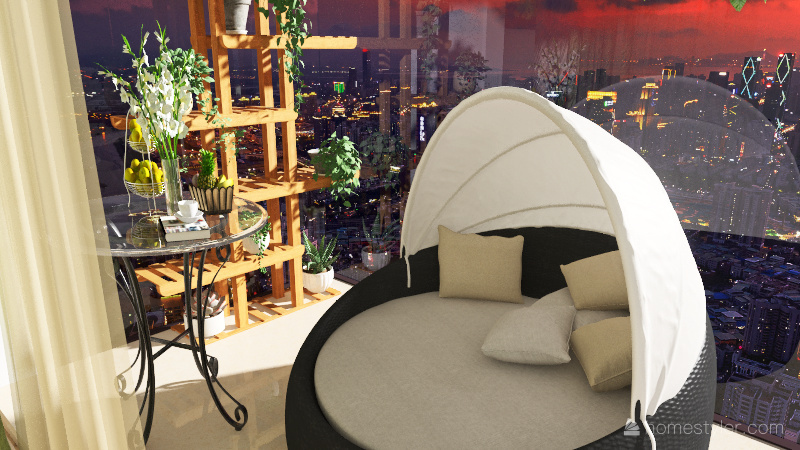 chambre aesthetic verte Interior Design Render