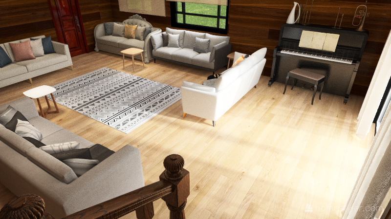 2 storey house Interior Design Render