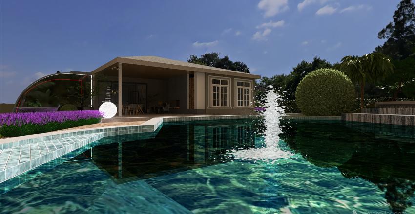 Mediterranean container bungalow Interior Design Render