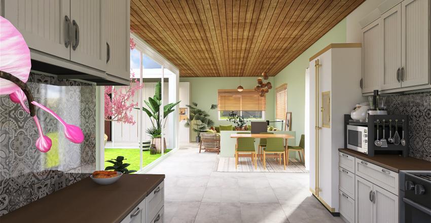 home with internal garden Interior Design Render