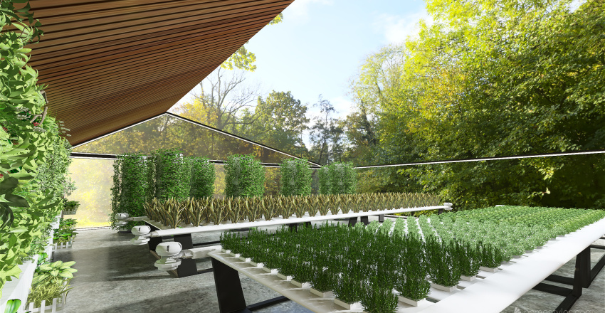 Container house with Rooftop greenhouse Interior Design Render