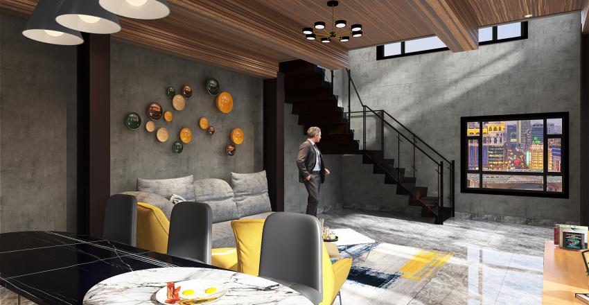 Industrial Home Interior Design Render