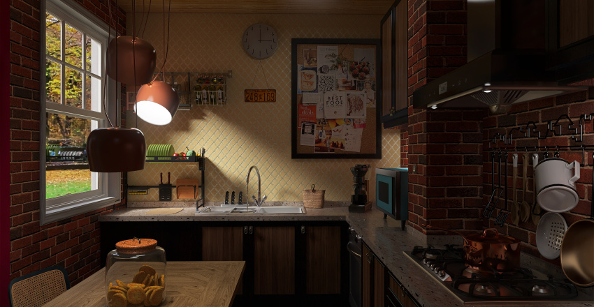 casa de solteiro Interior Design Render