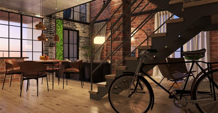 Indusrtial Loft Interior Design Render