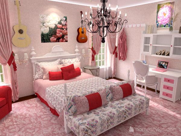 Girl's Modern Room Interior Design Render