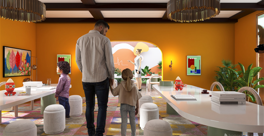 Playful time coffee and ice cream Interior Design Render