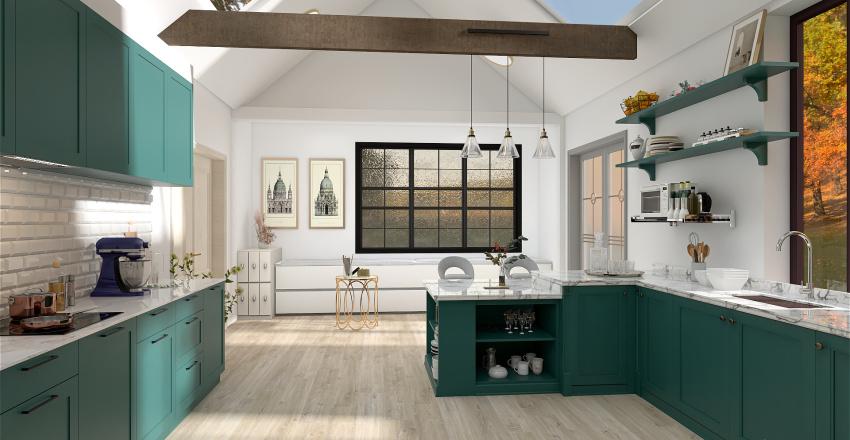 Green Little House Interior Design Render