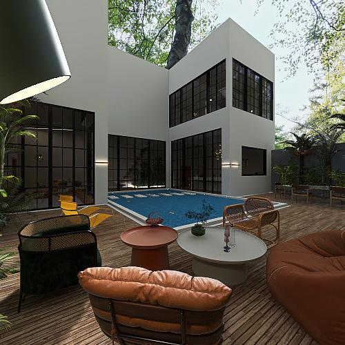 indosesian villa Interior Design Render