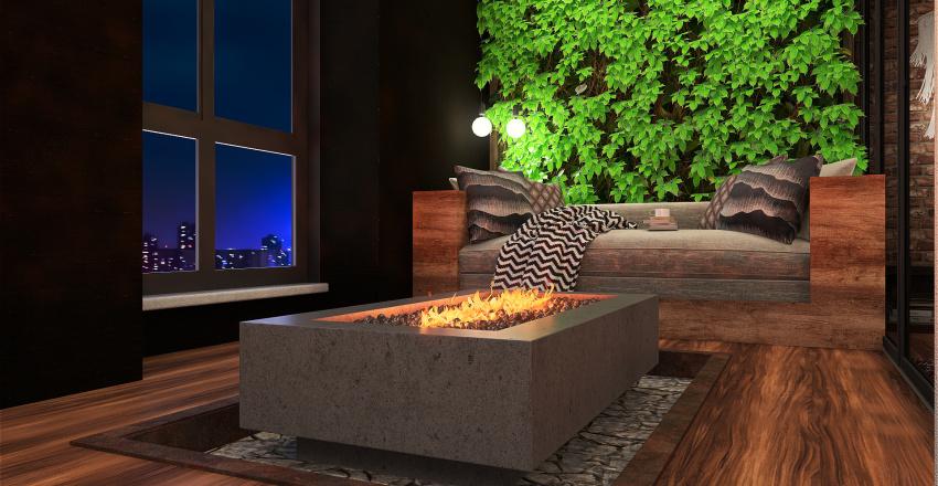 Exposed brickwall with indoor firepit Interior Design Render