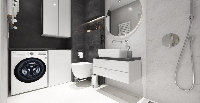 Modern Black and White Home Interior Design Render
