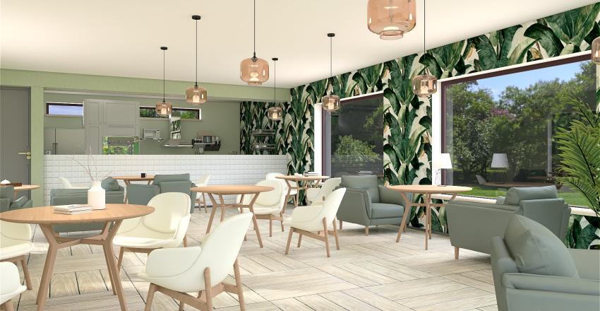 Green Cafe Interior Design Render