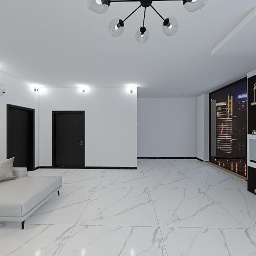 White theme modern house Interior Design Render