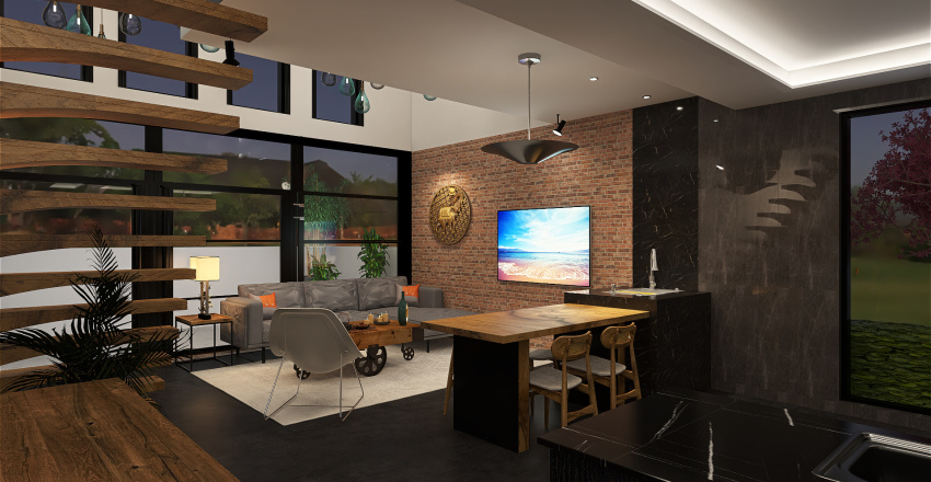 Loft pequeno cubo Interior Design Render